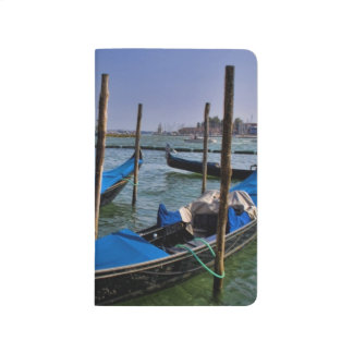 Grand Canal water with gondalo boats lined up Journal