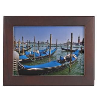 Grand Canal water with gondalo boats lined up Keepsake Box