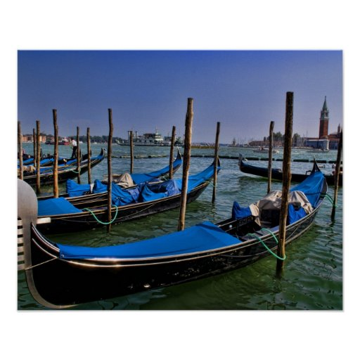 Grand Canal water with gondalo boats lined up Poster