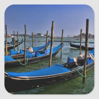Grand Canal water with gondalo boats lined up Square Stickers