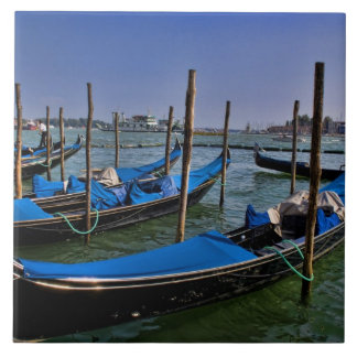 Grand Canal water with gondalo boats lined up Tile