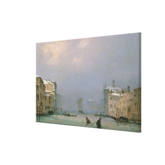 Grand Canal with Snow and Ice, 1849 Stretched Canvas Print