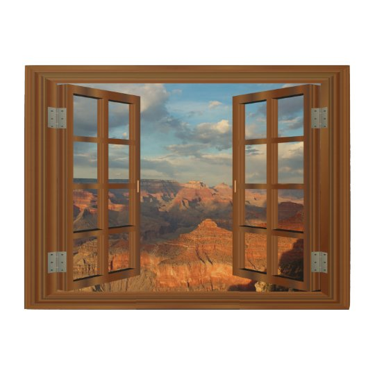 Grand Canyon Fake Faux Window View USA Wood