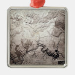 Grand Canyon of Colorado and UtahPanoramic Map Silver-Colored Square Decoration