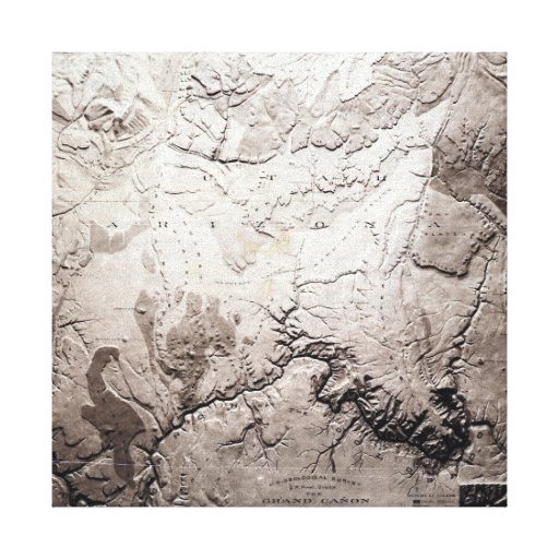 Grand Canyon of Colorado and UtahPanoramic Map Stretched Canvas Print