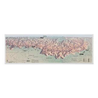 Grand Canyon South Rim map poster