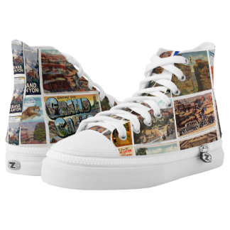 Grand Canyon Vintage Postcards Hightop Sneaks Printed Shoes