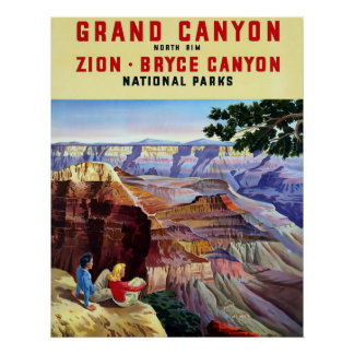 Grand Canyon ~ Vintage Travel Poster. Poster