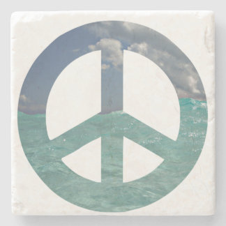 Grand Cayman Peace Sign Natural Stone Coaster
