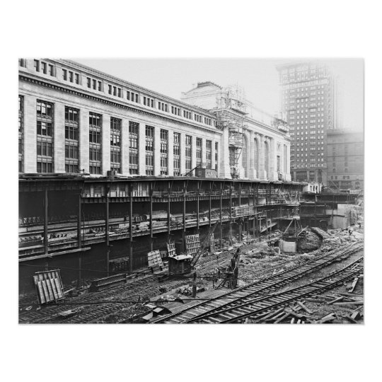 Grand Central Station Construction 1910 Poster