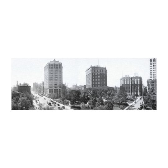 Grand Circus Park (Detroit) in Panoramic 1910 Canvas Print