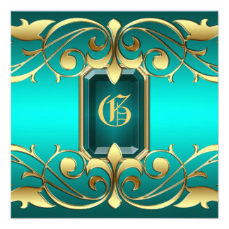 Grand Duchess Aquamarine Jewel Teal Invitation
