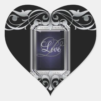 Grand Duchess Black Heart Silver Love Sticker