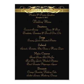 Grand Duchess Black Scroll Wedding Menu Card