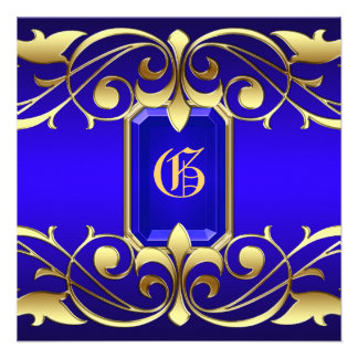 Grand Duchess Blue Jewel Gold And Blue Invitation