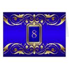 Grand Duchess Blue Jewel Gold Scroll Table Card