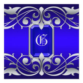 Grand Duchess Blue Jewel Silver Scroll Invitation