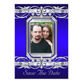 Grand Duchess Blue Save The Date Silver Invitation