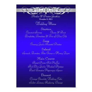Grand Duchess Blue Scroll Wedding Menu 13 Cm X 18 Cm Invitation Card