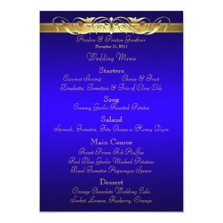 Grand Duchess Blue Scroll Wedding Menu Card