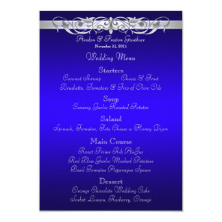 Grand Duchess Blue Scroll Wedding Menu Card