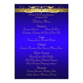 Grand Duchess Blue Scroll Wedding Menu Announcements