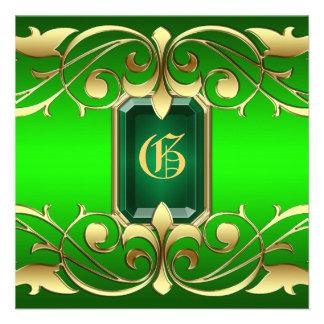 Grand Duchess Emerald Jewel Gold Scroll Invitation