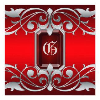 Grand Duchess Garnet Jewel Scroll Red Invitation