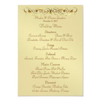 Grand Duchess Gold Metal Scroll Wedding Menu 13 Cm X 18 Cm Invitation Card