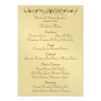 Grand Duchess Gold Metal Scroll Wedding Menu Invite