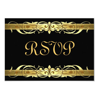 Grand Duchess Gold Scroll Black RSVP Card 9 Cm X 13 Cm Invitation Card