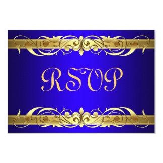 Grand Duchess Gold Scroll Blue RSVP Card 9 Cm X 13 Cm Invitation Card
