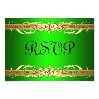 Grand Duchess Gold Scroll Green RSVP Card 9 Cm X 13 Cm Invitation Card