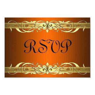Grand Duchess Gold Scroll Orange RSVP Card 9 Cm X 13 Cm Invitation Card