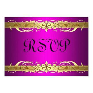 Grand Duchess Gold Scroll Pink RSVP Card 9 Cm X 13 Cm Invitation Card