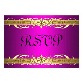 Grand Duchess Gold Scroll Pink RSVP Card Custom Invites