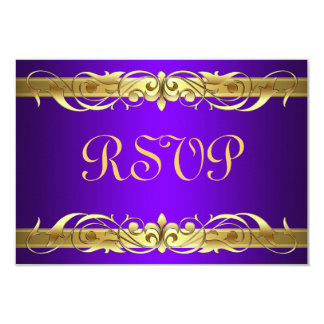Grand Duchess Gold Scroll Purple RSVP Card 9 Cm X 13 Cm Invitation Card
