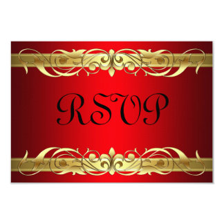 Grand Duchess Gold Scroll Red RSVP Card