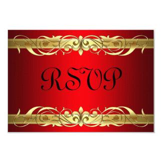 Grand Duchess Gold Scroll Red RSVP Card 9 Cm X 13 Cm Invitation Card