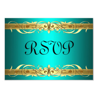 Grand Duchess Gold Scroll Teal RSVP Card 9 Cm X 13 Cm Invitation Card