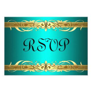 Grand Duchess Gold Scroll Teal RSVP Card Custom Invites