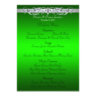 Grand Duchess Green Scroll Wedding Menu Custom Announcements