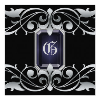 Grand Duchess Onyx Jewel Silver Regency Invitation