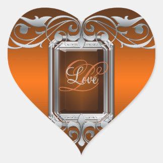 Grand Duchess Orange Heart Silver Love Sticker