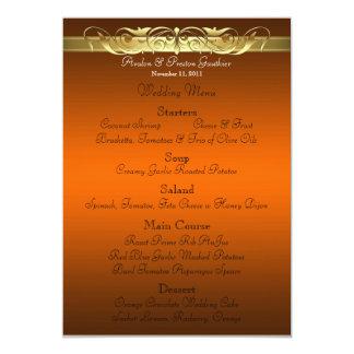 Grand Duchess Orange Scroll Wedding Menu 13 Cm X 18 Cm Invitation Card