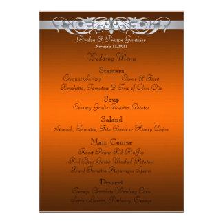 Grand Duchess Orange Scroll Wedding Menu Personalized Invitations
