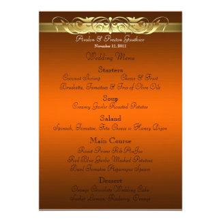 Grand Duchess Orange Scroll Wedding Menu Invite