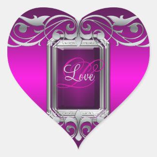 Grand Duchess Pink Heart Silver Love Sticker