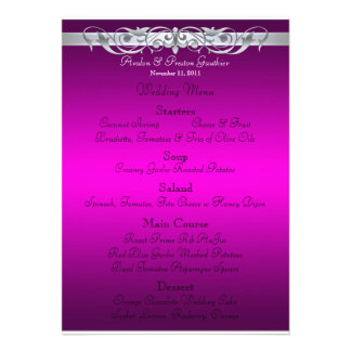 Grand Duchess Pink Scroll Wedding Menu Personalized Announcement