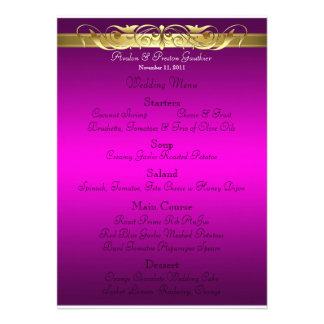 Grand Duchess Pink Scroll Wedding Menu Invitation